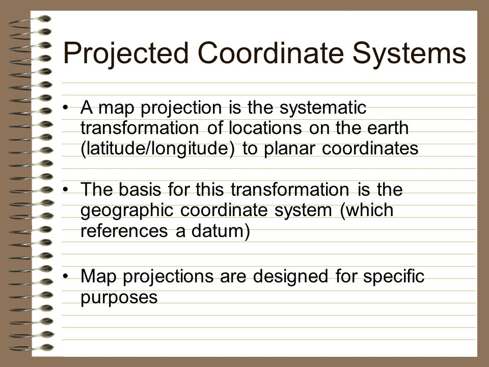 projected coordinate system Projections and coordinate system 1 application of remote sensing and geographical information system in civil engineering date: instructors dr.