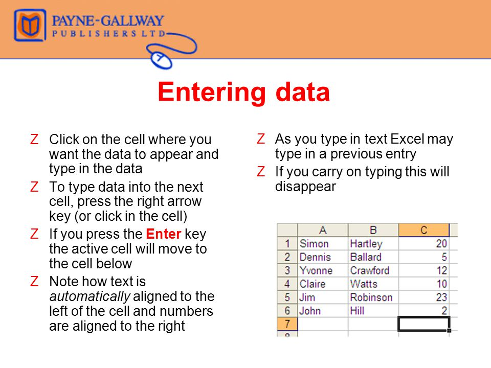 Entering data Click on the cell where you want the data to appear and type in the data.