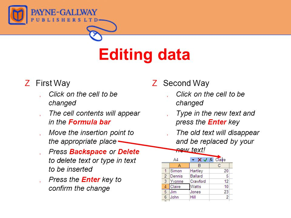 Editing data First Way Second Way Click on the cell to be changed