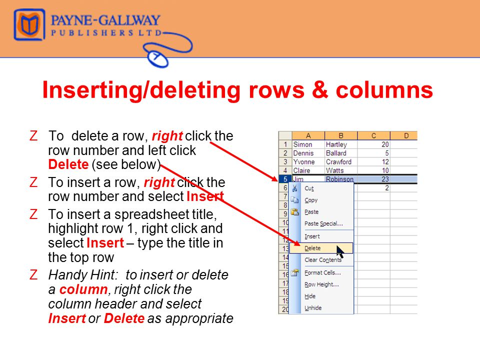 Inserting/deleting rows & columns