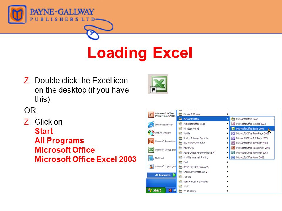 Loading Excel Double click the Excel icon on the desktop (if you have this) OR.
