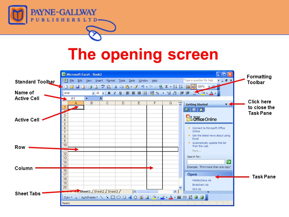 The opening screen Formatting Toolbar Standard Toolbar