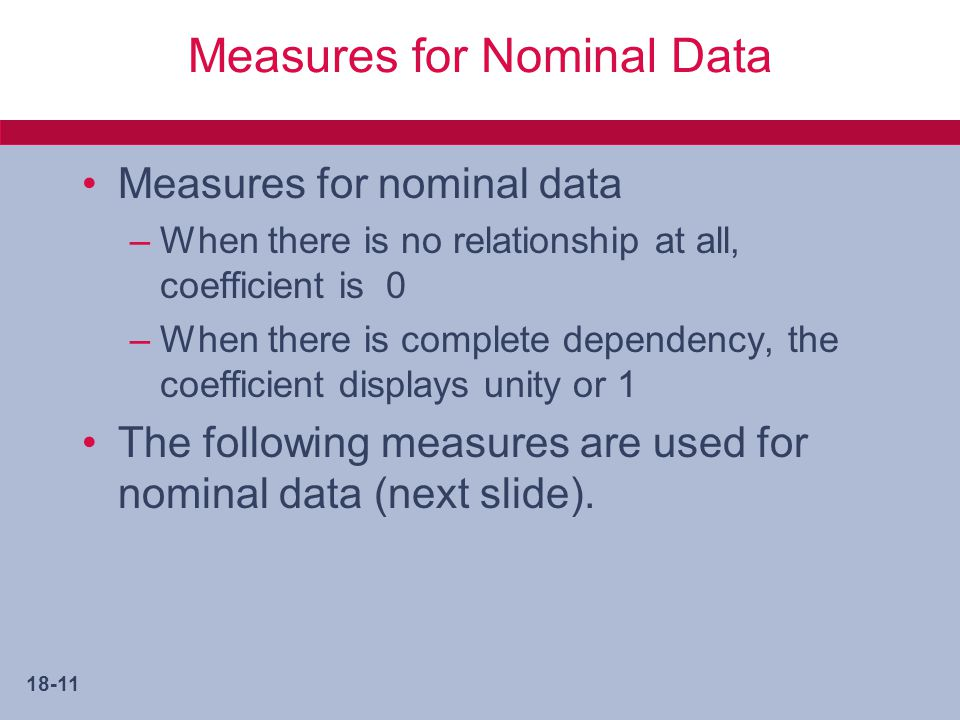 Measures for Nominal Data