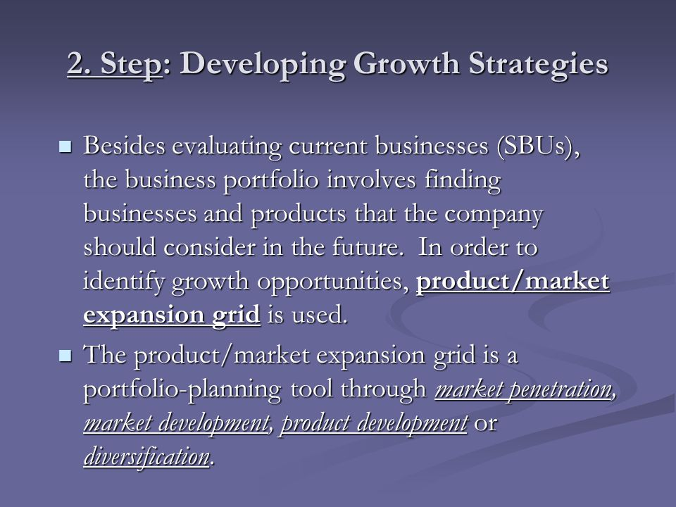 2. Step: Developing Growth Strategies