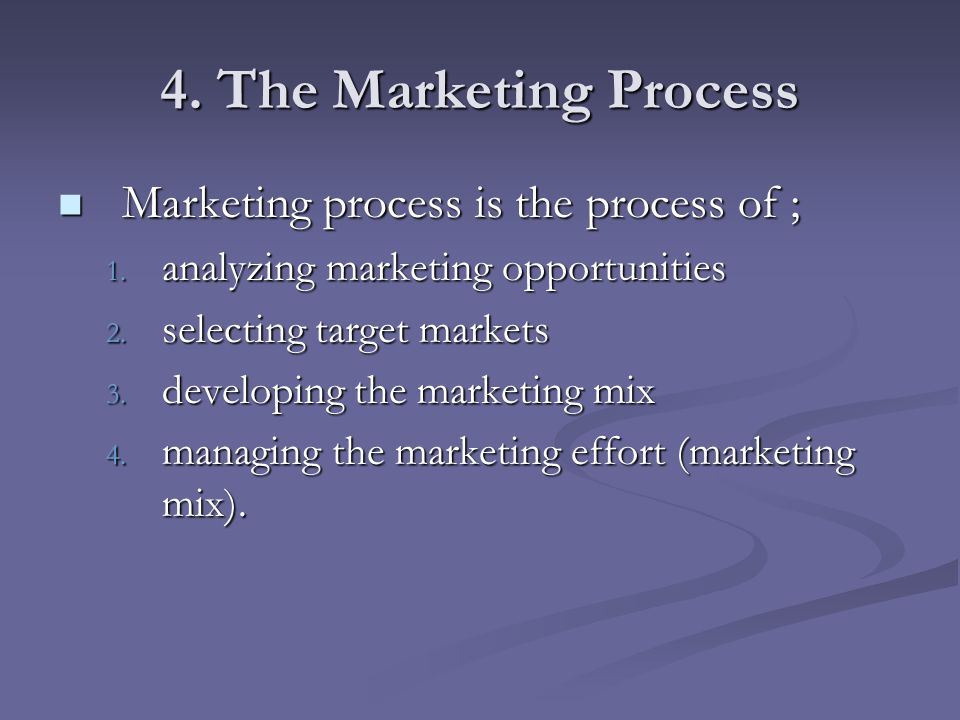 4. The Marketing Process Marketing process is the process of ;