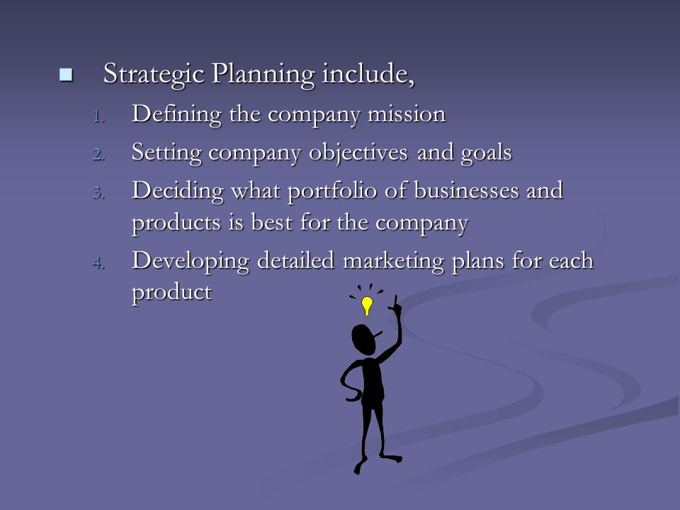 Strategic Planning include,