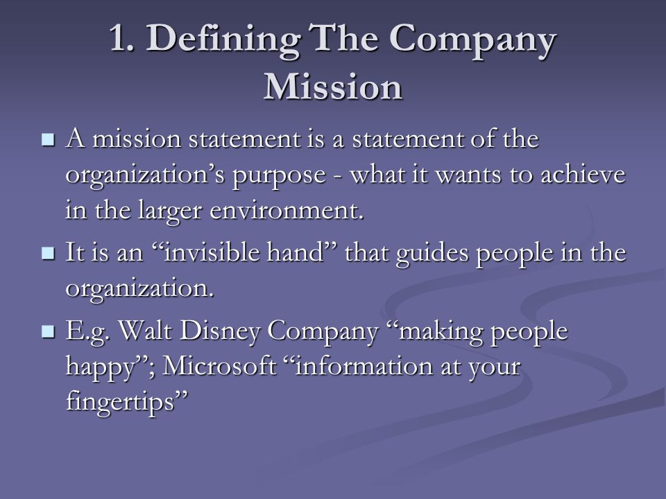 1. Defining The Company Mission