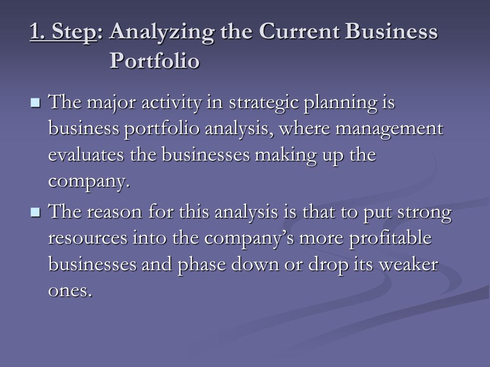 1. Step: Analyzing the Current Business Portfolio