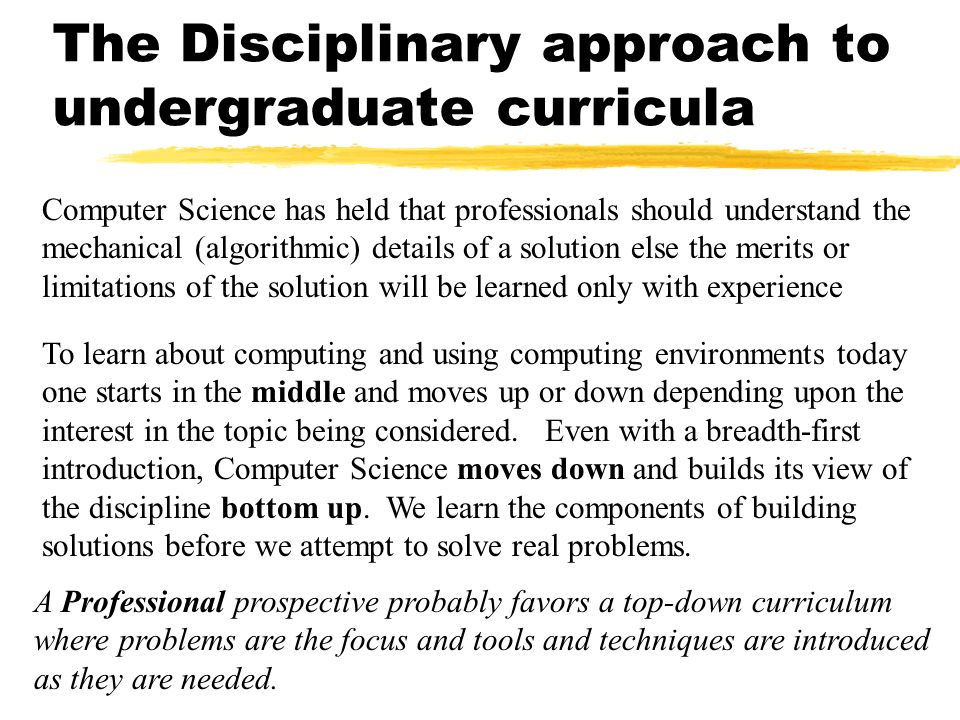 The Disciplinary approach to undergraduate curricula