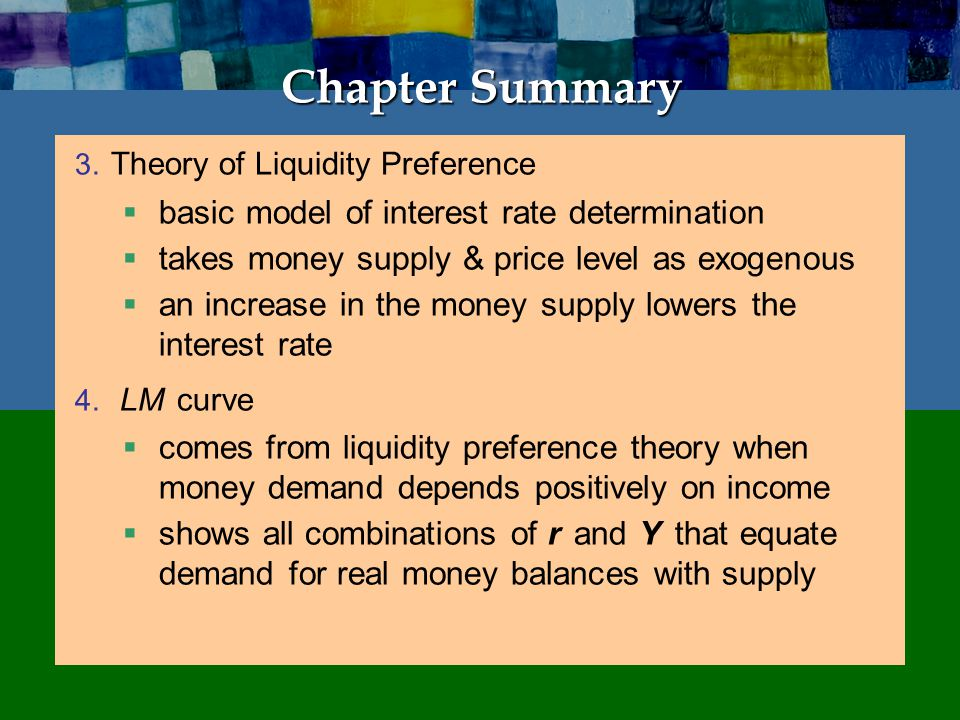 Chapter Summary IS-LM model