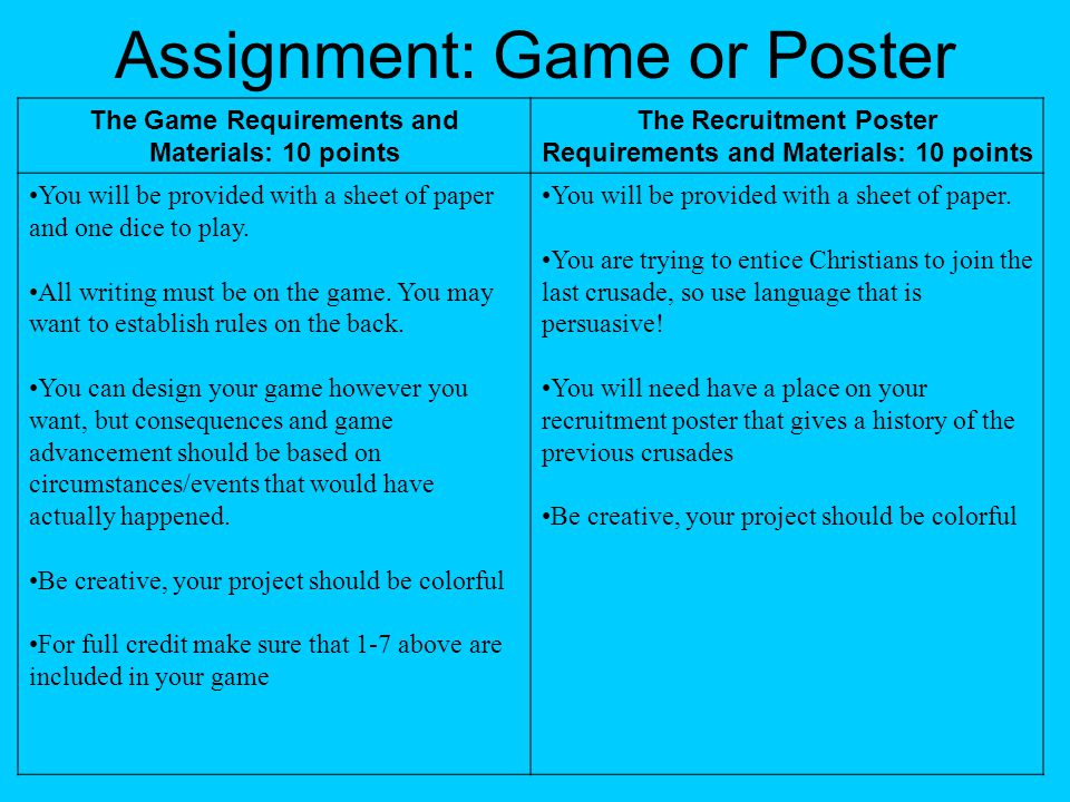 Assignment: Game or Poster