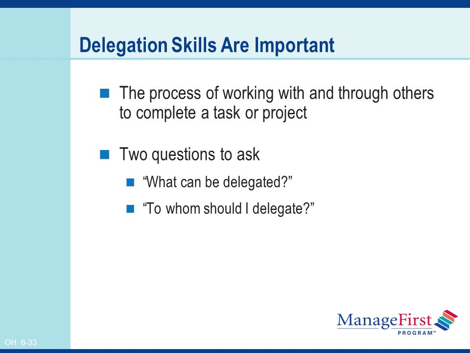 delegation process Elements of delegation of authority definition: the delegation of authority is a process through which manager assigns responsibility to the subordinate with a certain level of authority, ie power to take decisions, in order to accomplish certain assignments on the manager's behalf.