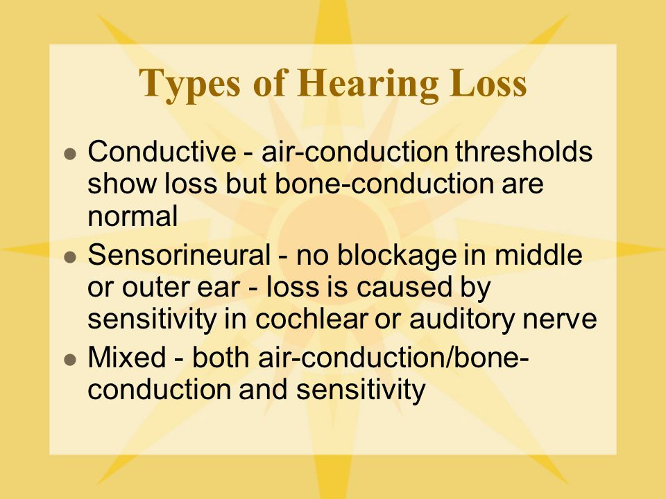 Types of Hearing Loss Conductive - air-conduction thresholds show loss but bone-conduction are normal.