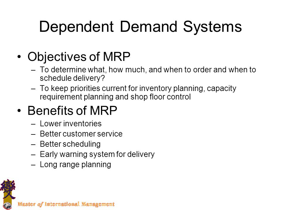 what are the objectives of mrp Comments off on de-mystifying mrp in dynamics gp  (apics definition of mrp) the primary objective of mrp.