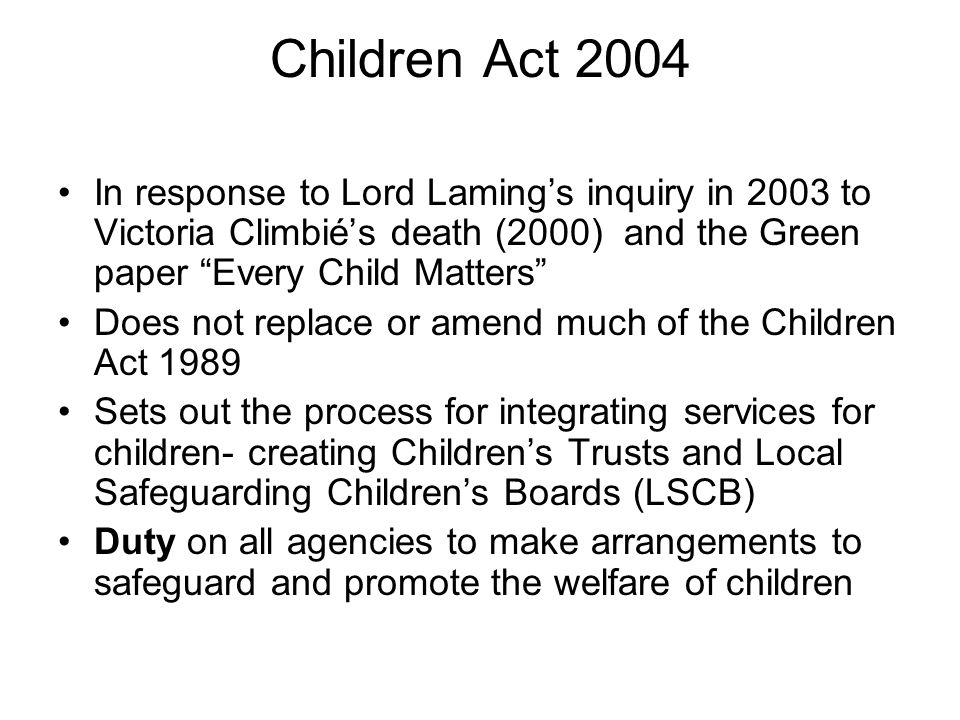 lord laming's inquiry report Lord lamings inquiry concluded that a radical reform of child protection services was needed and that especially there should be a children's commissioner to head a nation agency lord laming concluded that it was not a lack of law but a lack of its implementation that allowed for such a tragedy to occur.