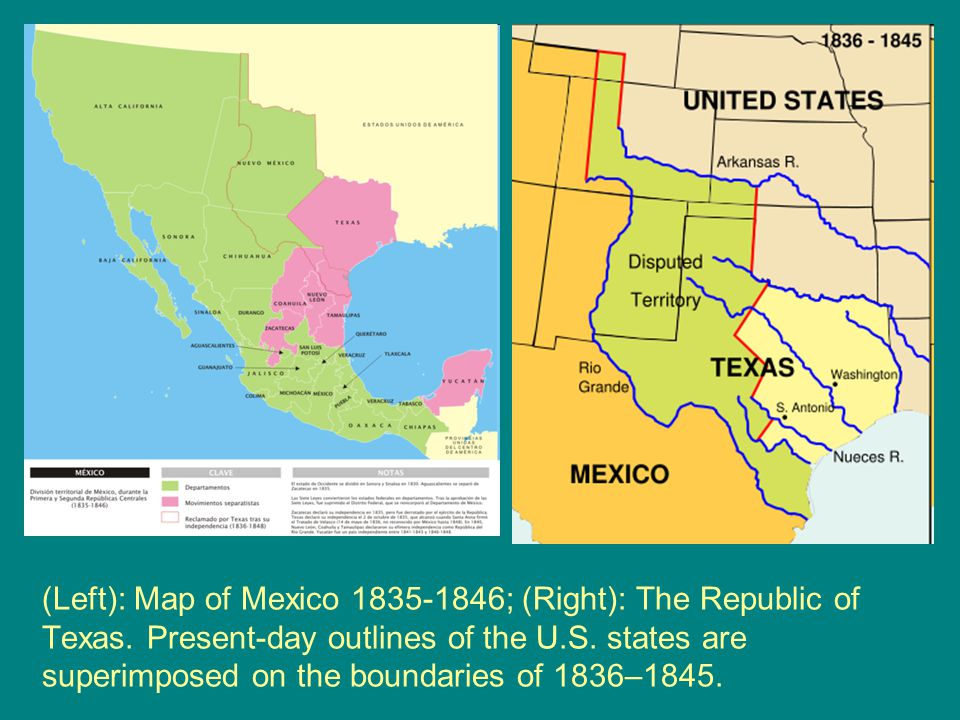 Left Map Of Mexico 1835 1846 Right The