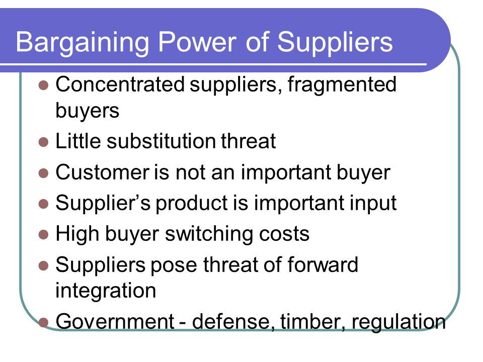 threat from buyers bargaining power of a bakery Bargaining power of buyer: with a large number of products in the market and daily innovations there is no dearth of suppliers hence customers are at a luxury of choosing from a host of products.