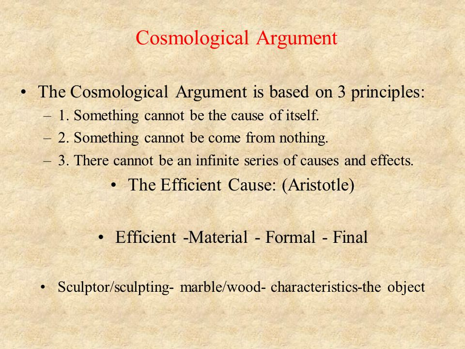 objections to the cosmological argument essay Although it was written in 1776, hume did not actually publish dialogues concerning natural religion in his lifetime it was published three years after his death in 1779.