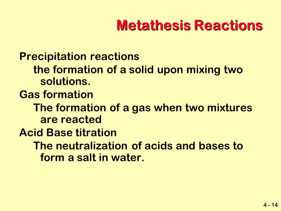 redox metathesis reactions Redox reaction types metathesis redox switch partners double neutralization precipitation single combustion synthesis decomposit displacement.