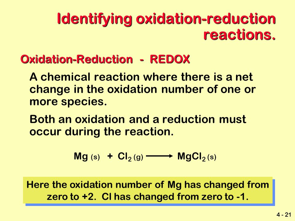 Identifying oxidation-reduction reactions.
