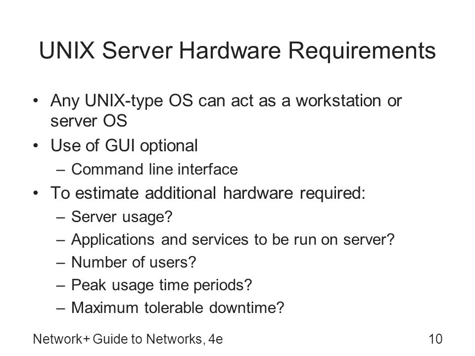 UNIX Server Hardware Requirements