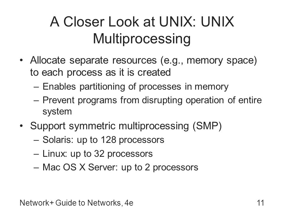 A Closer Look at UNIX: UNIX Multiprocessing