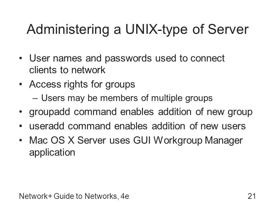 Administering a UNIX-type of Server