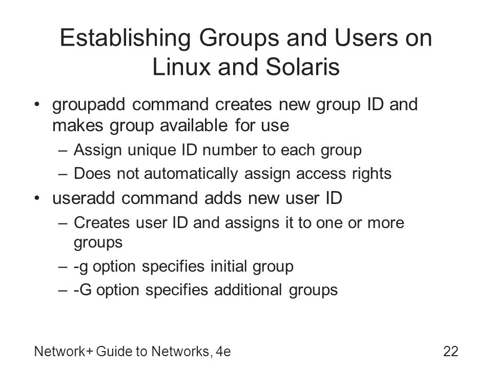 Establishing Groups and Users on Linux and Solaris