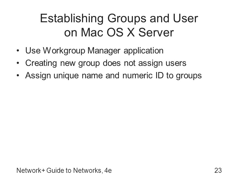 Establishing Groups and User on Mac OS X Server