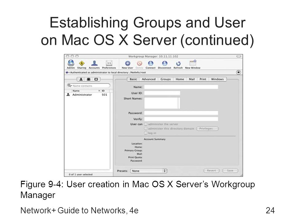 Establishing Groups and User on Mac OS X Server (continued)