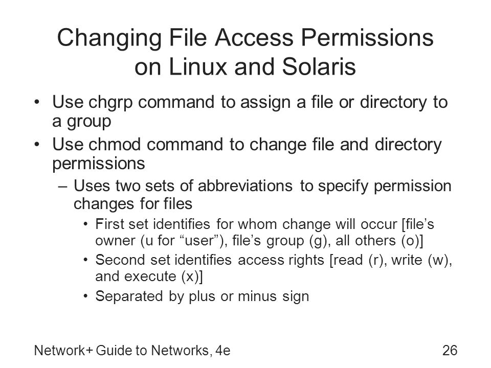 Changing File Access Permissions on Linux and Solaris