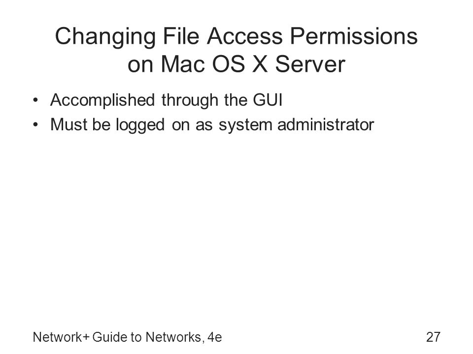Changing File Access Permissions on Mac OS X Server