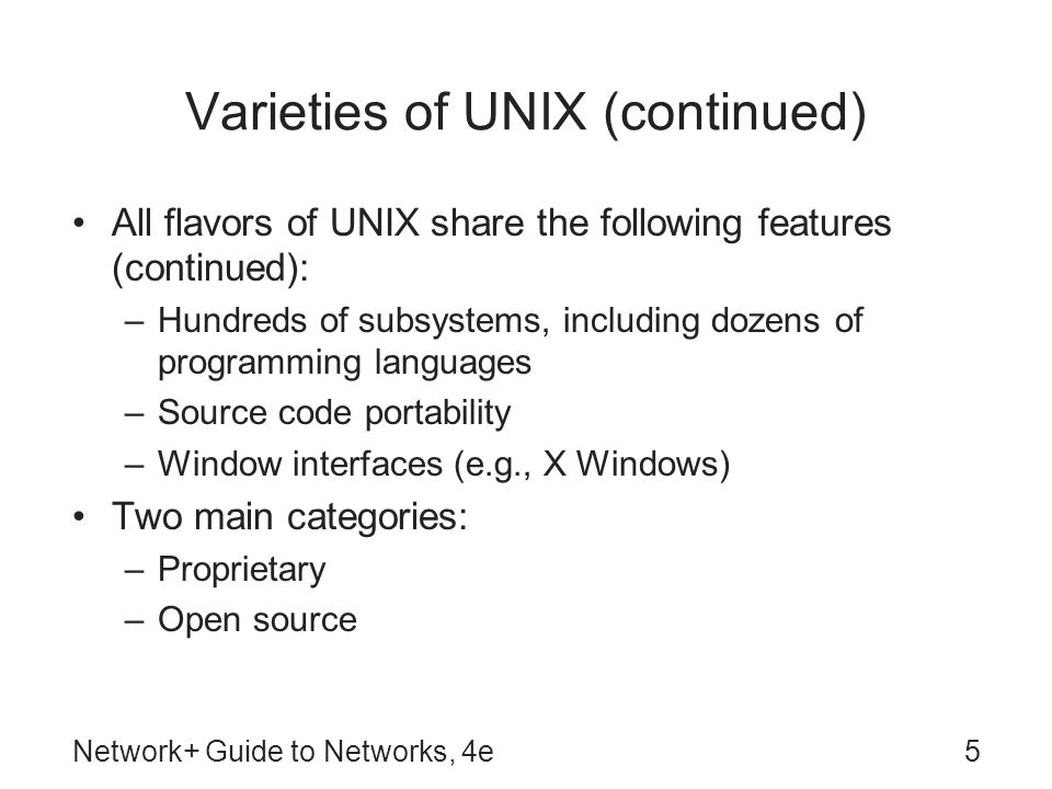 Varieties of UNIX (continued)