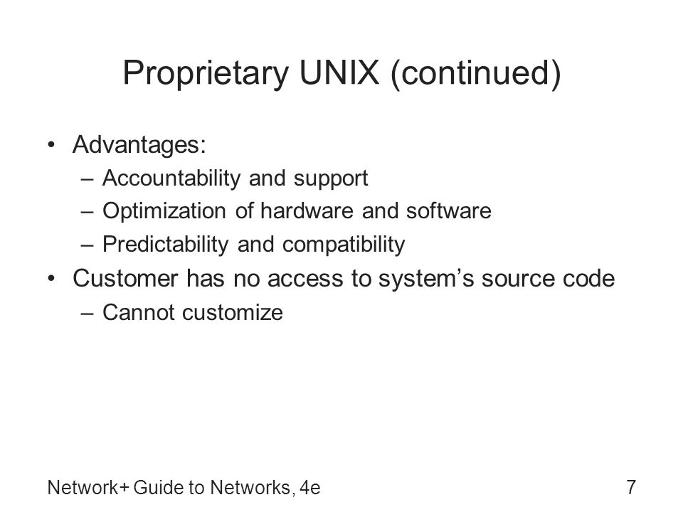 Proprietary UNIX (continued)