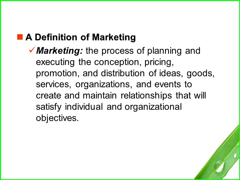 the process of planning and executing the conception marketing essay It is the process of planning and executing the conception, pricing, promotion, distribution, research of ideas, goods, services, organizations and events to create exchanges and to maintain long term relationships that exchanges which in turn satisfies individual and organizational goals.