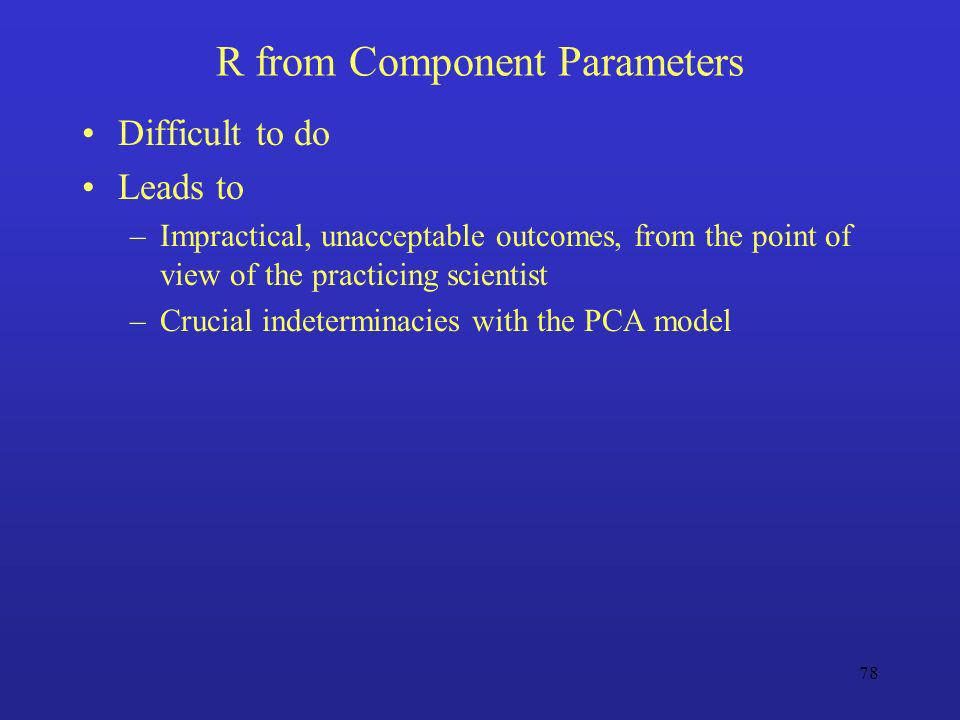 R from Component Parameters
