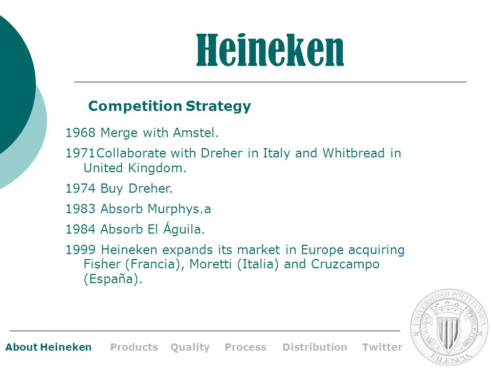 strategic management and heineken The stifling competition in the uk electronic home appliances industry impresses upon industry players to institute very strategic practices.