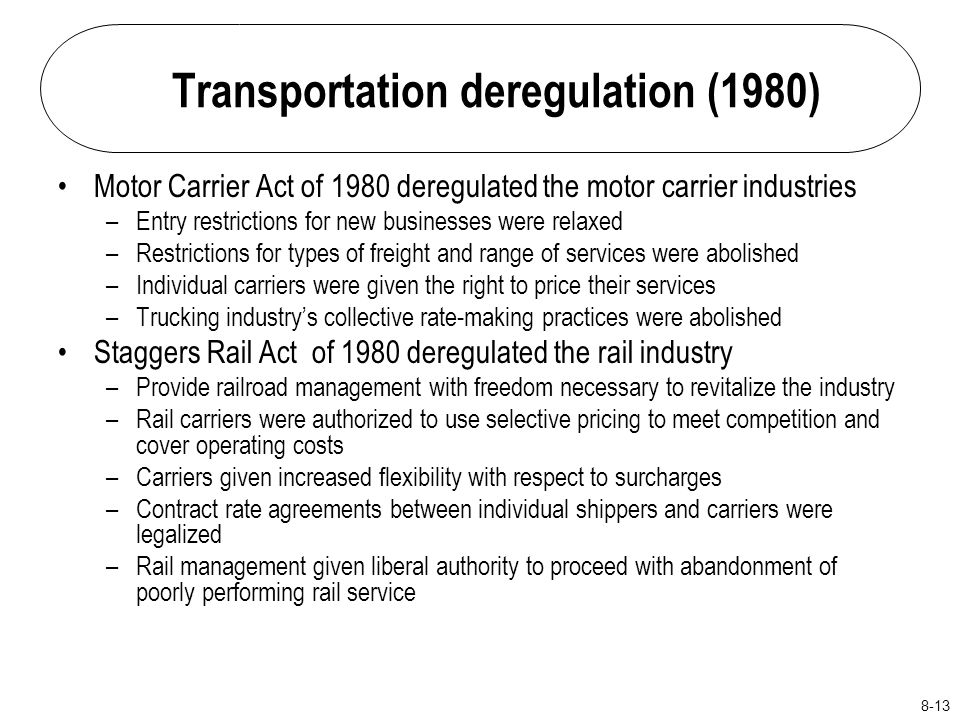 """deregulation of motor carrier industry According to cathy gautreaux, deputy administrator at the federal motor carrier safety administration, the motor carrier industry is """"on the cusp of revolutionary changes"""" in the way freight and people are moved, and government regulations need to keep pace."""
