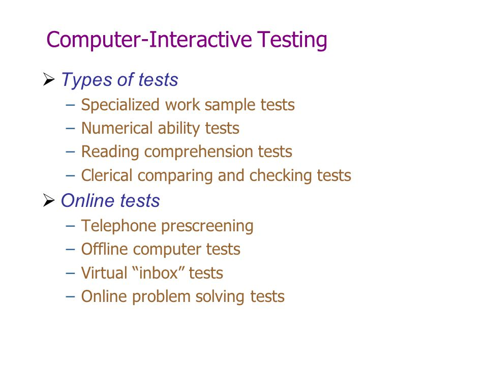 Computer-Interactive Testing