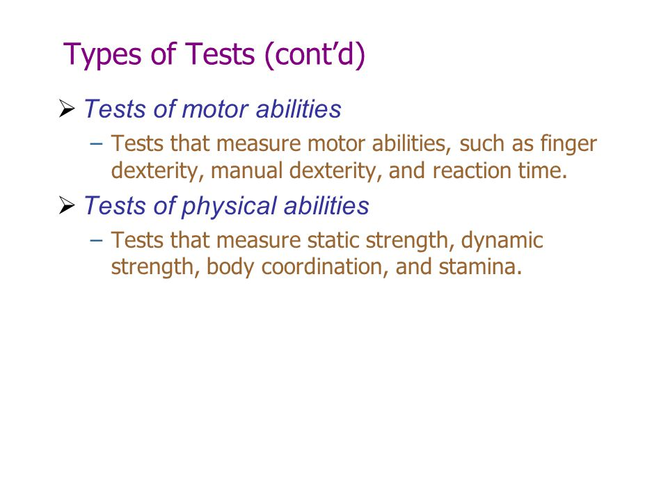 Types of Tests (cont'd)