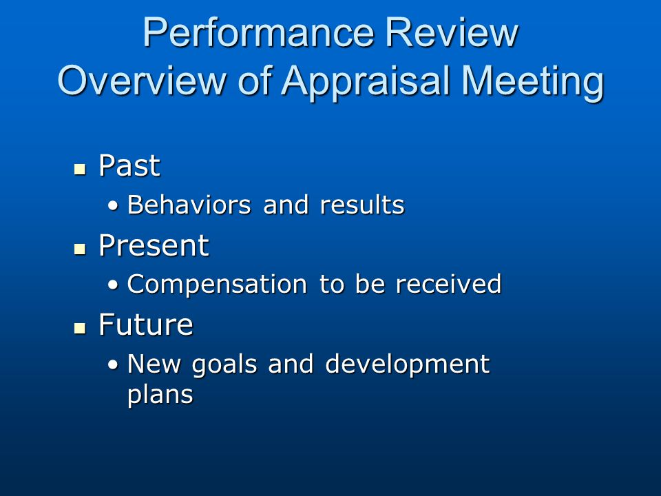 Performance Review Overview of Appraisal Meeting