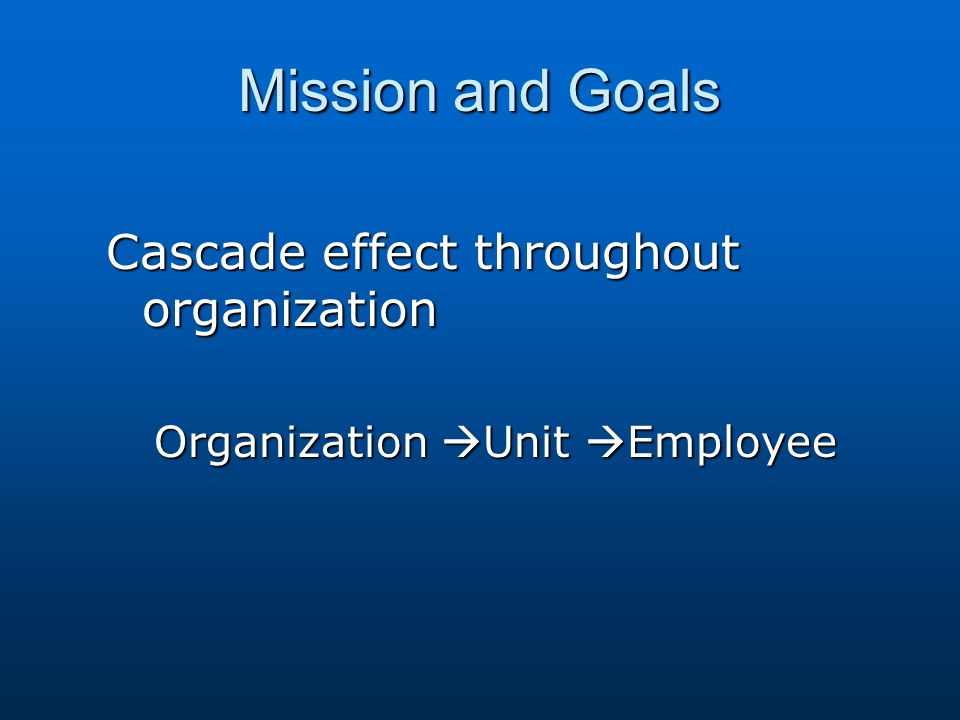 Mission and Goals Cascade effect throughout organization