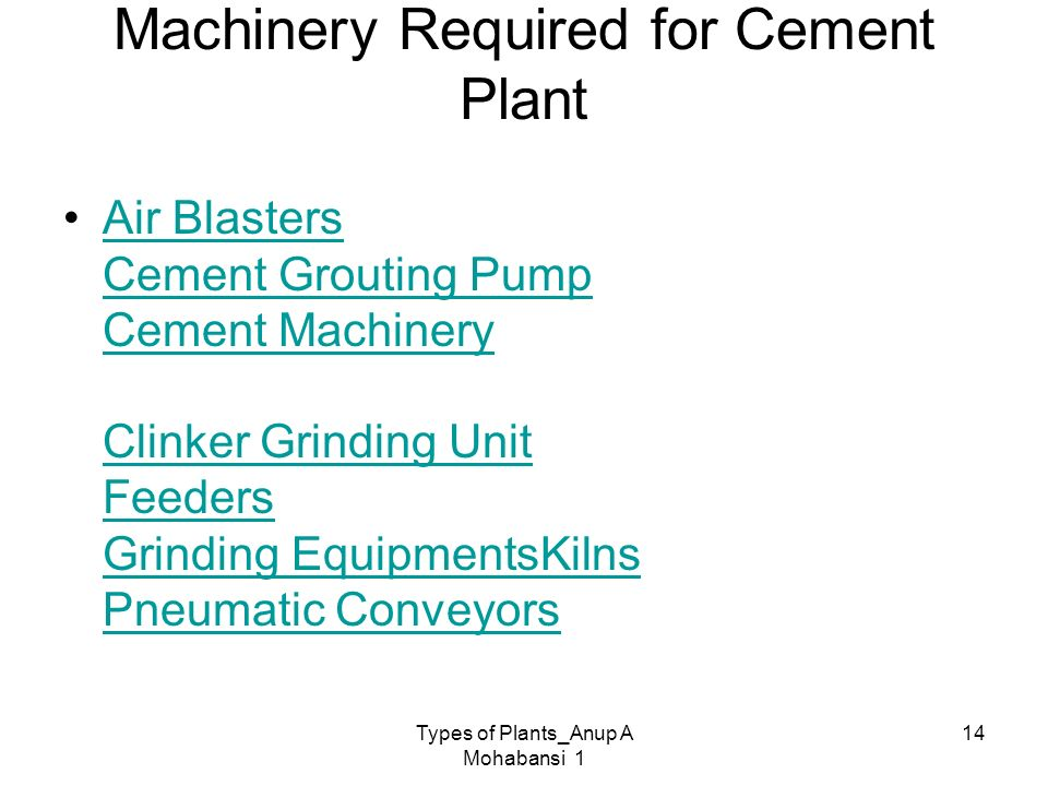 Machinery Required for Cement Plant