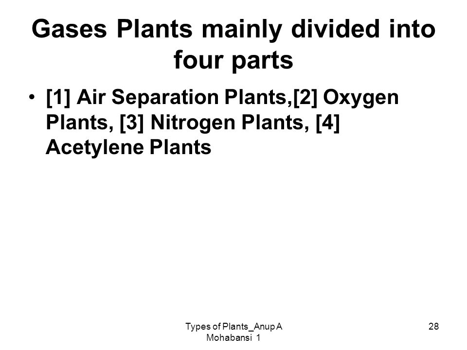 Gases Plants mainly divided into four parts