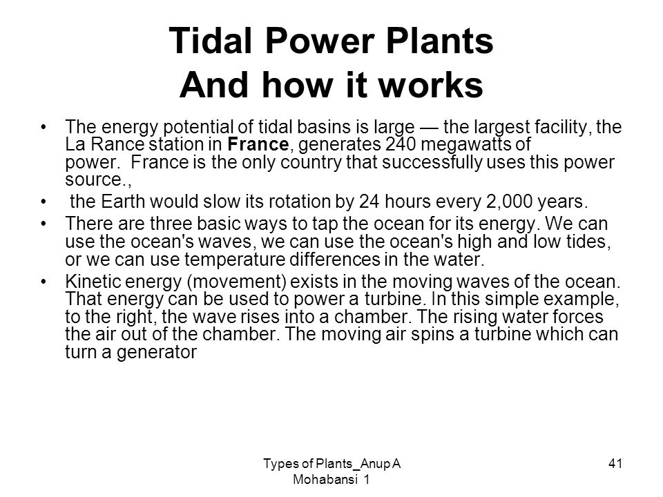 Tidal Power Plants And how it works
