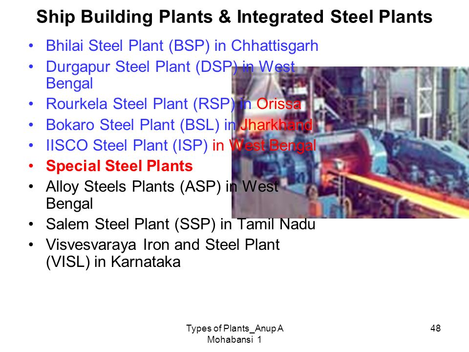 Ship Building Plants & Integrated Steel Plants