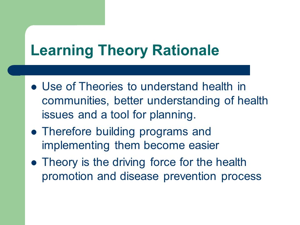 theories of health promotion Theories to np-delivered primary care, to discuss strategies for the  implementation of  keywords: application of theory, behavior change, health  promotion.