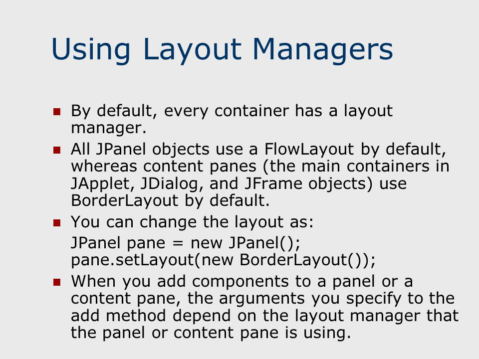 how to change the current layout manager for a container