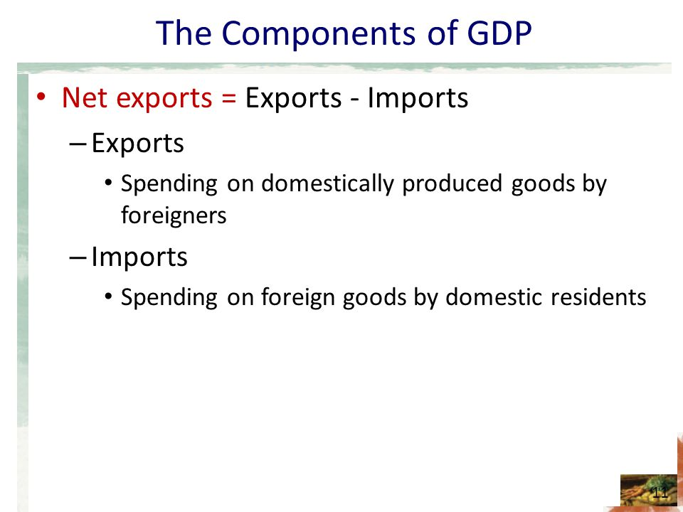The Components of GDP Net exports = Exports - Imports Exports Imports