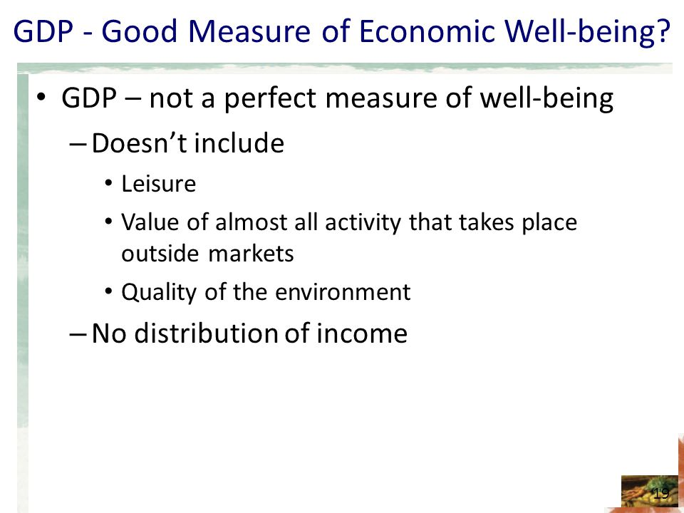 GDP - Good Measure of Economic Well-being